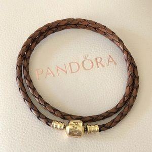 Pandora Jewelry - Pandora 14k Gold Clasp Leather Bracelet